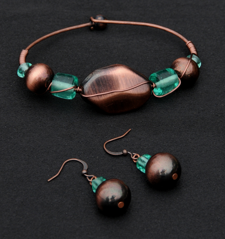 Dichroic and Copper Bracelet